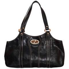 Gucci Black Leather Shoulder Bag with Wooden GG Logo