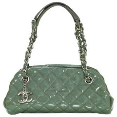 Chanel Green Quilted Patent Leather Just Mademoiselle Small Bowling Bag