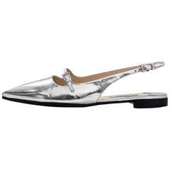 Prada Silver Glazed Leather Slingback Flats Sz 37.5