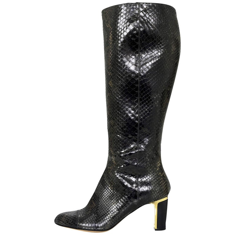 Salvatore Ferragamo Grey Python Snakeskin Boots Sz 8B