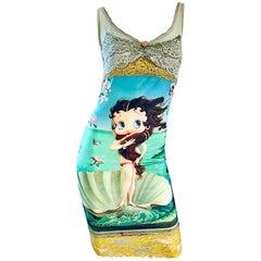"Super Rare Eletra Casadei 1990s Betty Boop "" Birth of Venus "" Novelty 90s Dress"