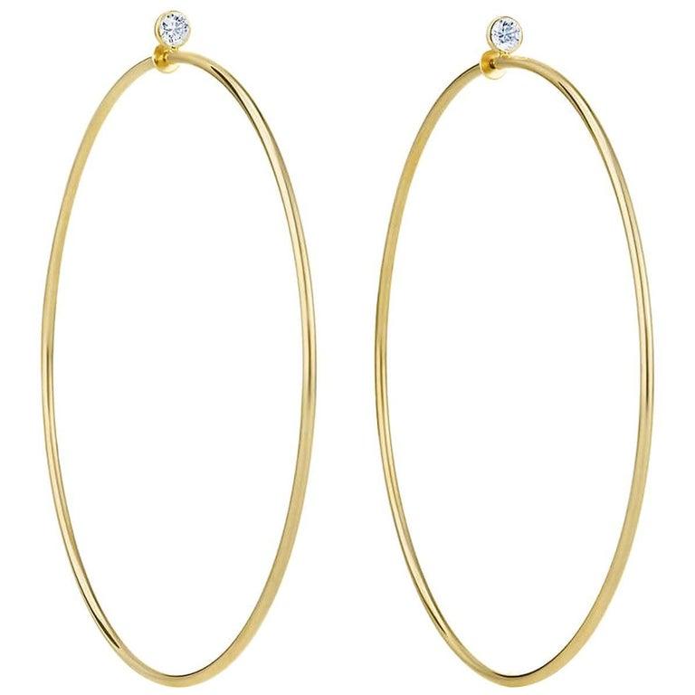 77f7c4396 Tiffany & Co. Elsa Peretti 18k Yellow Gold & Diamond Medium Hoop Earrings  For Sale