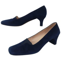 Vintage Ferragamo Blue Suede Shoes
