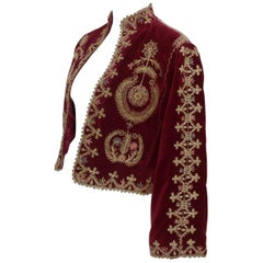 Exotic 1970's Moroccan Embroidered Velveteen Cropped Jacket
