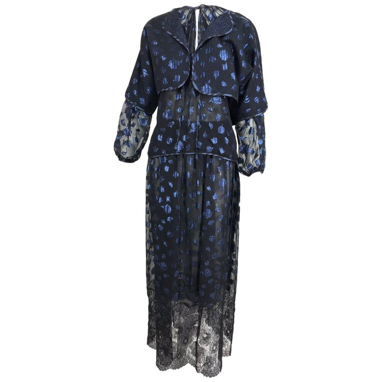 Geoffrey Beene 1970s silk metallic and lace three piece set black and blue