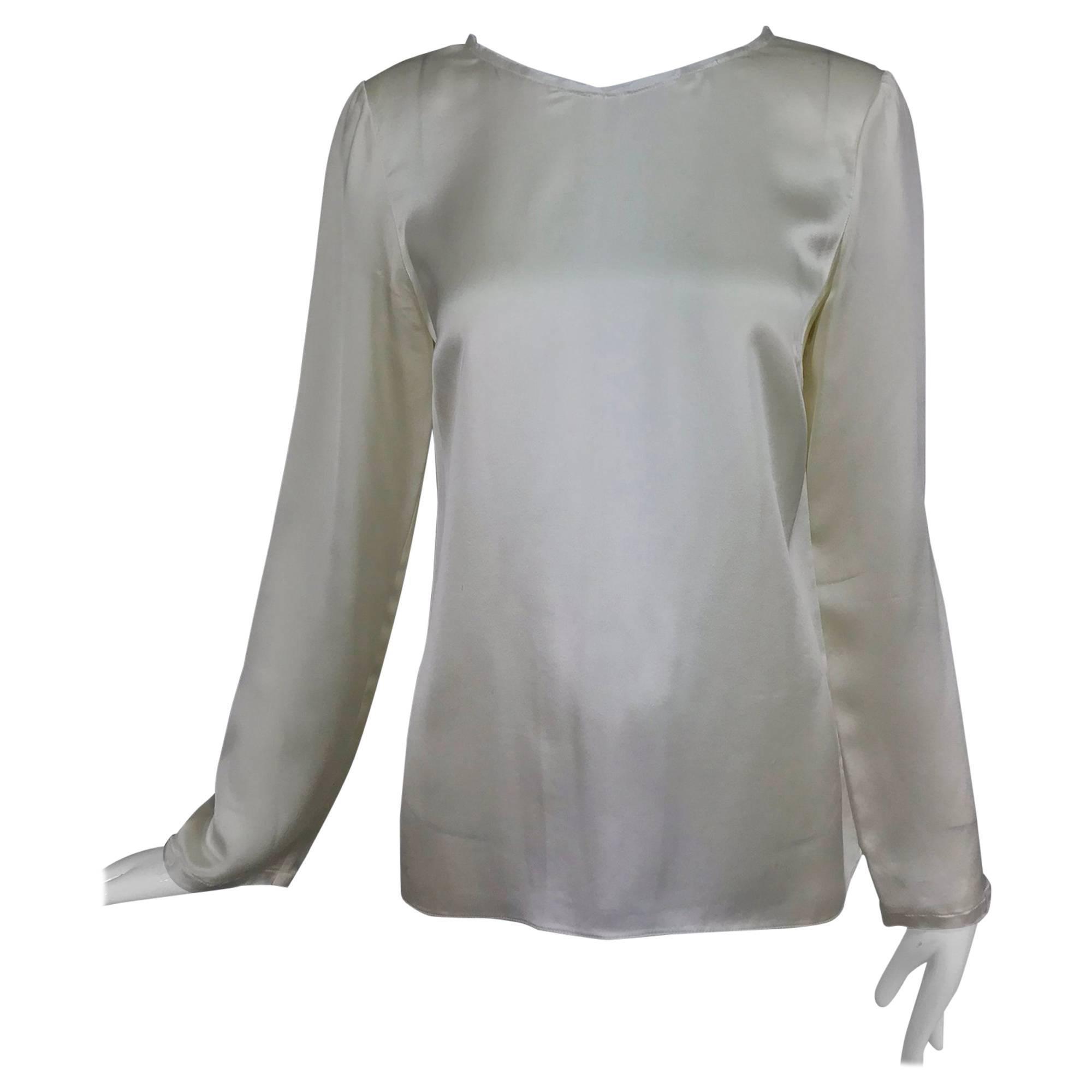 Chanel cream silk deconstructed long sleeve blouse