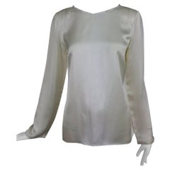 Chanel cream silk deconstructed long sleeve blouse