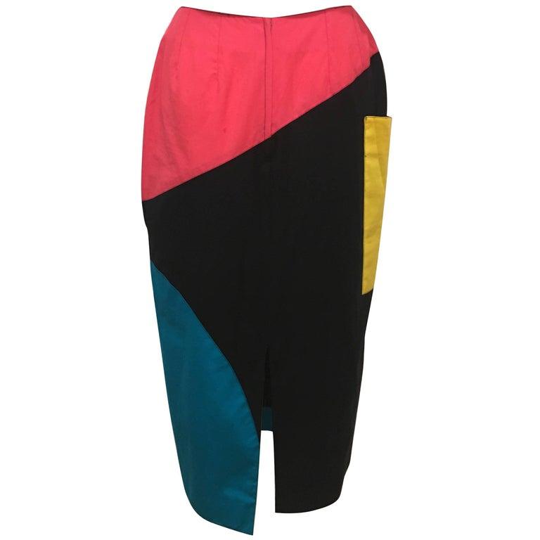 Guy Laroche Black Colorblock Skirt, 1980s