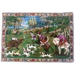 Extravagant Large Velveteen Tapestry Hunt Scene c 1970s