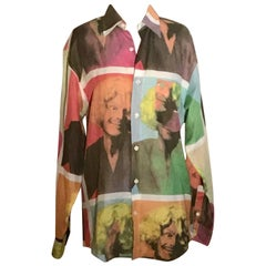 Moschino 1990s Cheap & Chic Franco Portrait in Wig Linen Blend Shirt