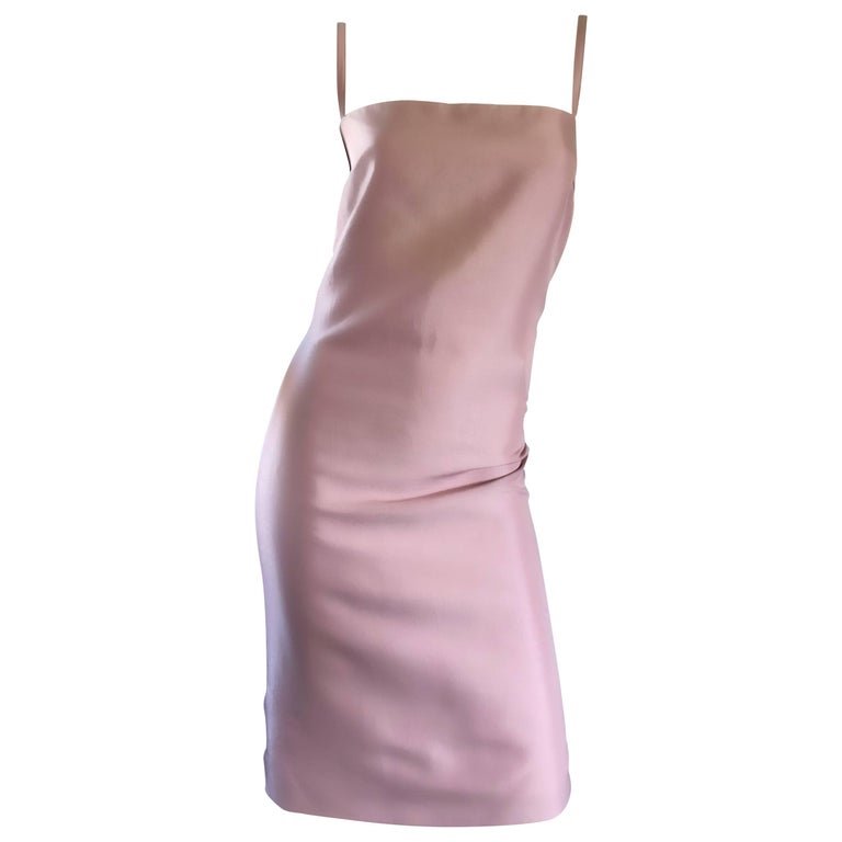 Max Mara Pianforte Couture 90s Size 12 Pale Pink Silk Sleeveless Vintage Dress