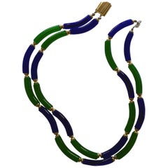 Archimede Seguso for CHANEL Cobalt and Emerald Tubular Glass Art Necklace