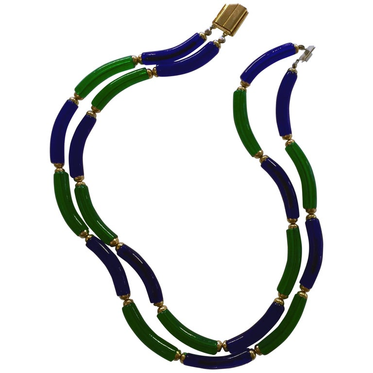 Archimede Seguso for CHANEL Cobalt and Emerald Tubular Glass Art Necklace For Sale