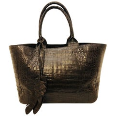 Nancy Gonzalez Chocolate Caiman Crocodile Erica Tote