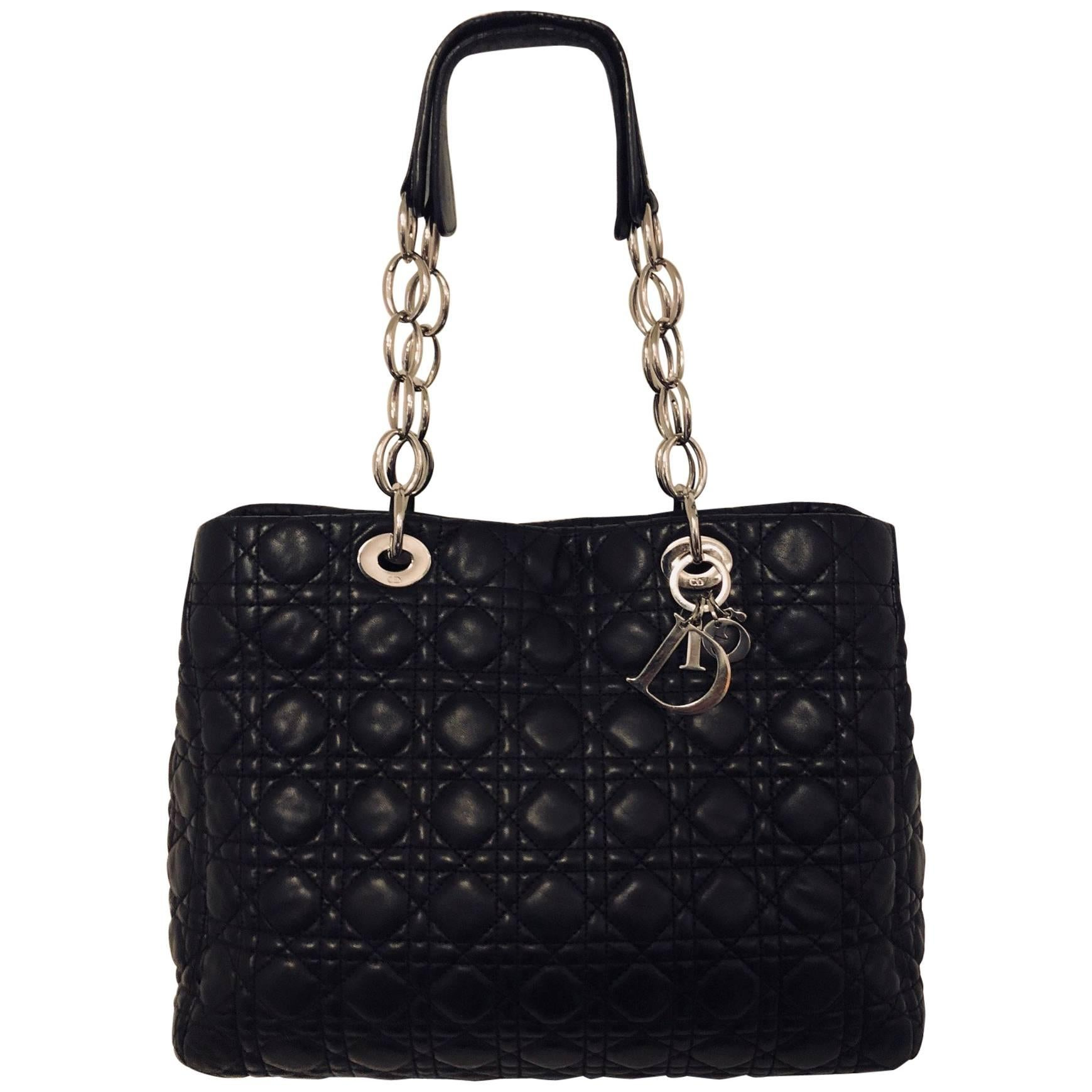 85c194b963d8 Christian Dior Black Cannage Quilted Lambskin Soft Shopping Tote Large at  1stdibs
