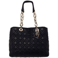 Christian Dior Black Cannage Quilted Lambskin Soft Shopping Tote Large