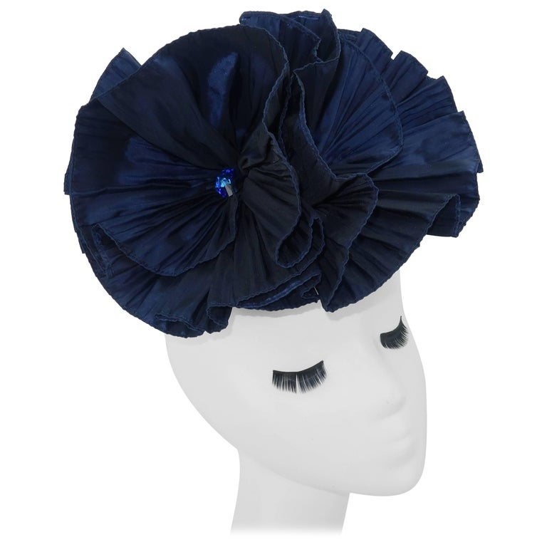 1980's Blue Taffeta Fascinator Hat Hair Ornament