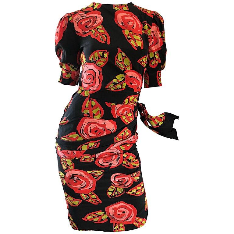 Vintage Louis Feraud Abstract Rose Print Sz 6 Black Pink Red Short Sleeve Dress