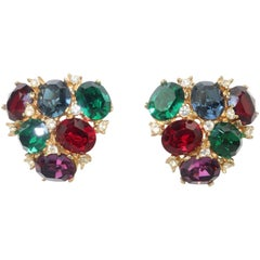1980's Ciner Multi Color Crystal Rhinestone Clip On Earrings