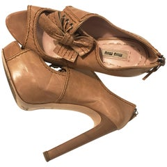 """Miu Miu Beige """"Mary Jane"""" Open Toe with Bow Pumps"""