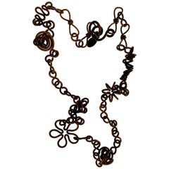 1980s Martha Sturdy Bronze Coiled  Modernist Flower Necklace