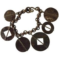 1980s Martha Sturdy Vancouver Bronze Modernist Link Charm Bracelet