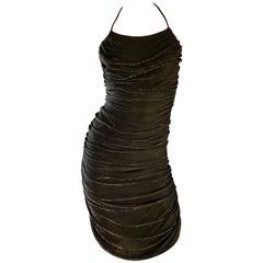 1970s Samir Black + Bronze Gold Sexy Ruched Studio 54 Vintage 70s Disco Dress