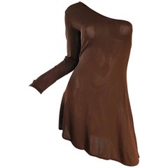 Alberta Ferretti Vintage 1990s Chocolate Brown One Shoulder 90s Mini Dress Tunic