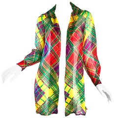 Cardinali Original Sample Plaid Silk Chiffon Open Front Jacket Blouse,