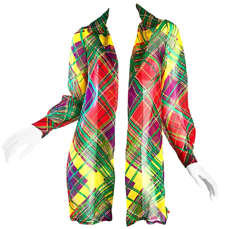 Cardinali Original Sample Plaid Silk Chiffon Open Front Jacket Blouse,