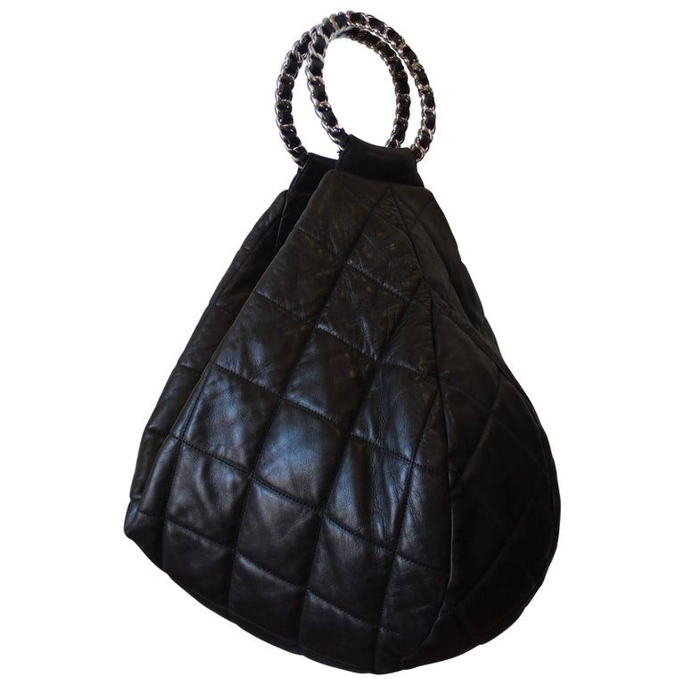 1990s Chanel Black Quilted Hobo Bag