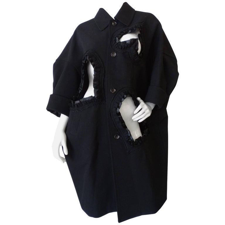 Rare 2008 Autumn/Winter Comme Des Garcons Heart Cut-Out Coat  For Sale