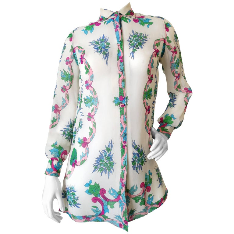 1960s Emilio Pucci Floral Printed Button Down  For Sale