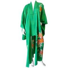 Vintage Japanese Green Floral Printed Kimono