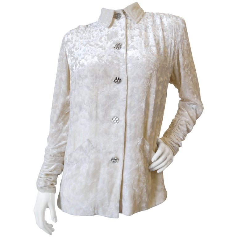 1980s Galanos Crushed White Velvet Ruched Blouse