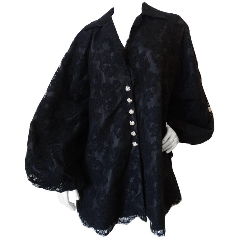1960s Black Lace Dramatic Bell Sleeve Coat