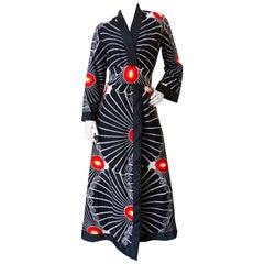 1970s Barbara Lee Cotton Midcentury Sunburst Printed Kimono
