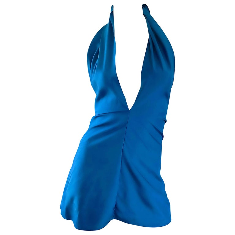 Yves Saint Laurent YSL Rive Gauche New Blue Plunging Silk Halter Top
