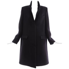 Maison Martin Margiela Black A Line Wool Button Front Coat