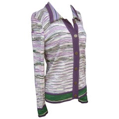 Missoni Italian Striped Wool Knit Cardigan Sweater