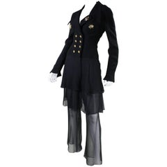 1990's Karl Lagerfeld Chiffon Ensemble with Insect Embellishments