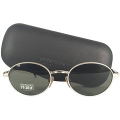 New Vintage Gianfranco Ferre Oval Silver 1990's Made in Italy Sunglasses