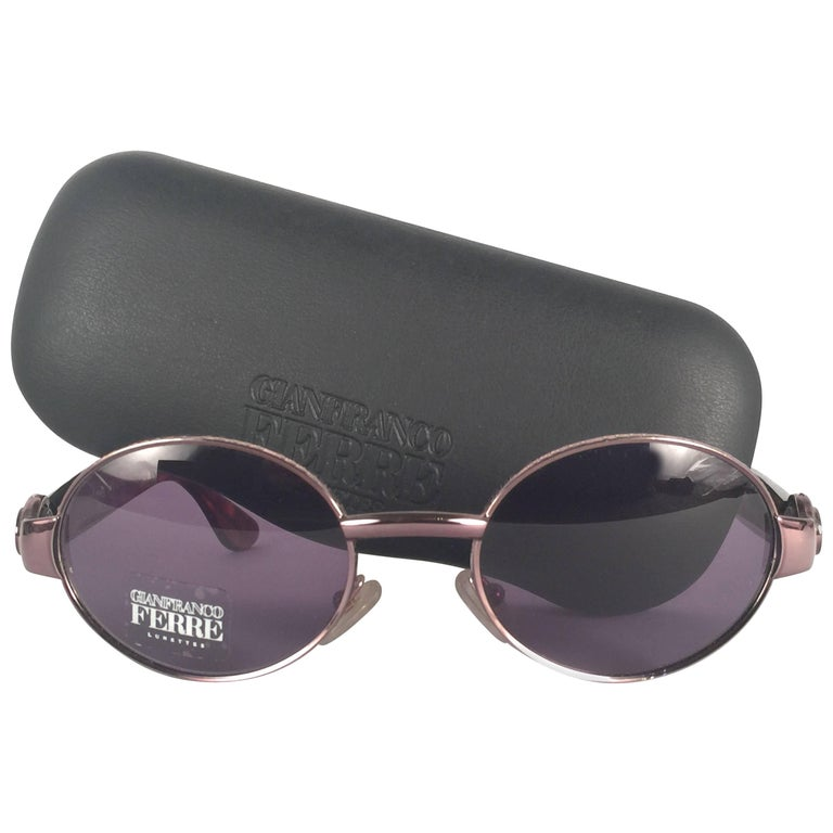 2ba9920f93 New Vintage Gianfranco Ferré Oval Copper 1990 s Made in Italy Sunglasses  For Sale