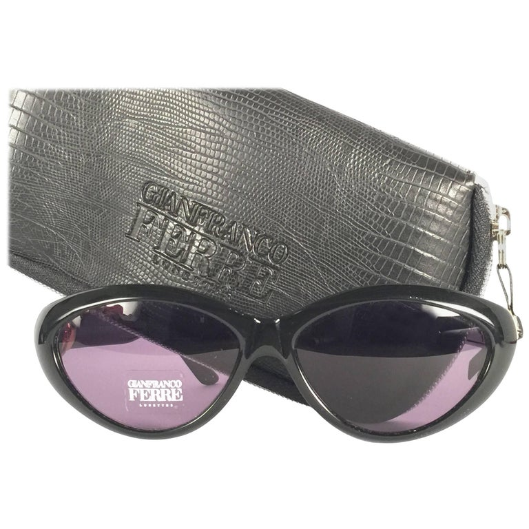 4703bef0b2e78 New Vintage Gianfranco Ferré Black and Rhinestones 1990 s Made in Italy  Sunglasses For Sale at 1stdibs