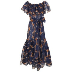 Vintage Yves Saint Laurent Blue and Brown Print Flamenco Style Silk Dress