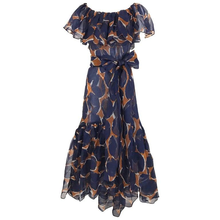 Vintage Yves Saint Laurent Blue and Brown Print Flamenco Style Silk Dress 1