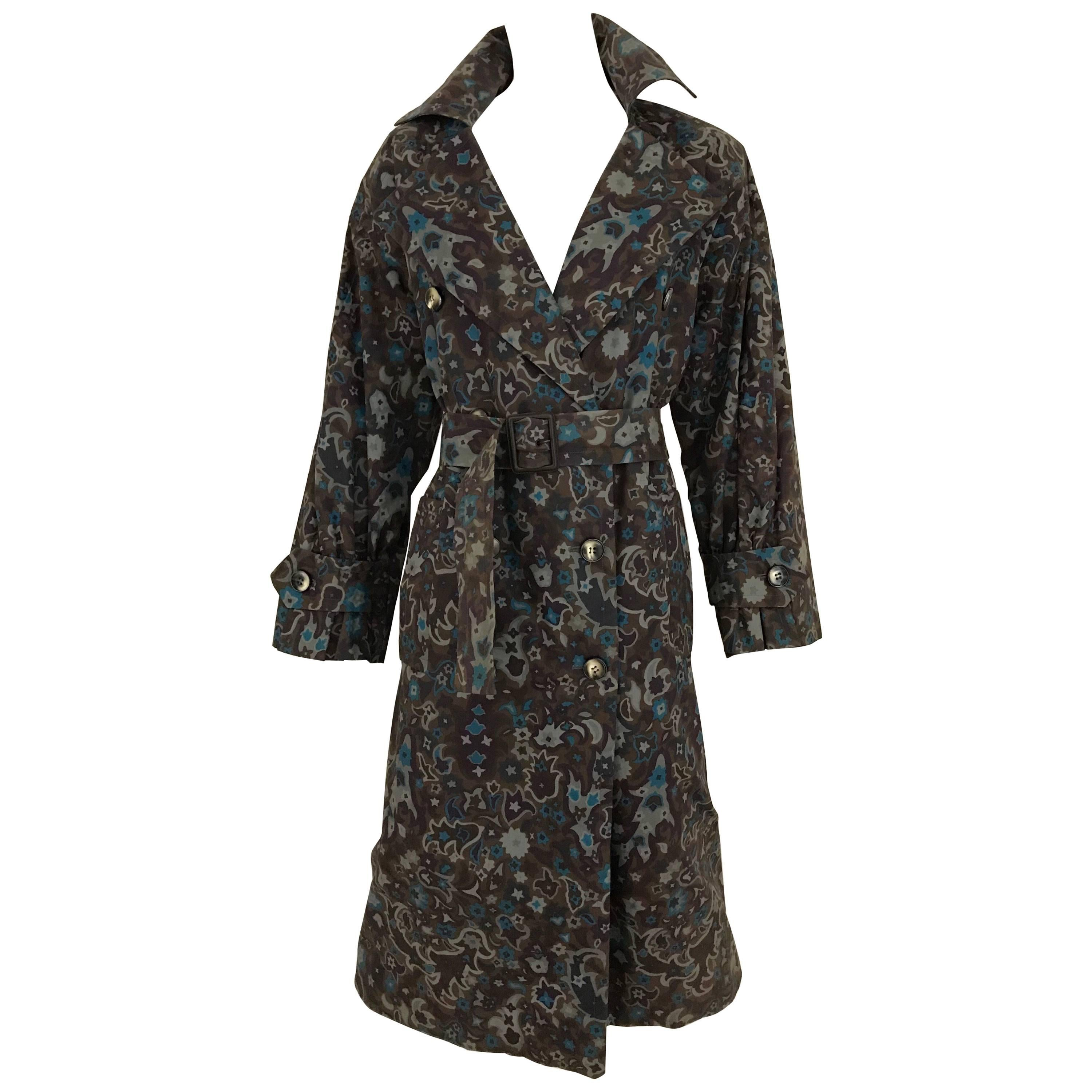 1970s Saint Laurent Brown, Teal and Grey Paisley Print vintage Trench Coat