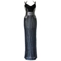 Gianni Versace Couture Black Lace Leather Bondage Gown Dress