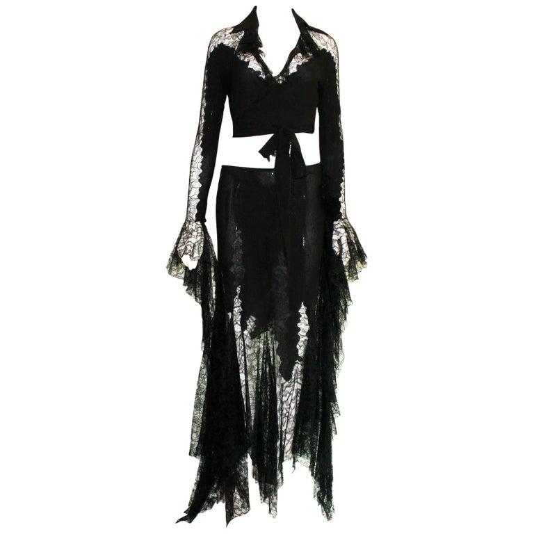 Breathtaking Gianni Versace Couture 1990s Black Silk & Lace Ensemble  1