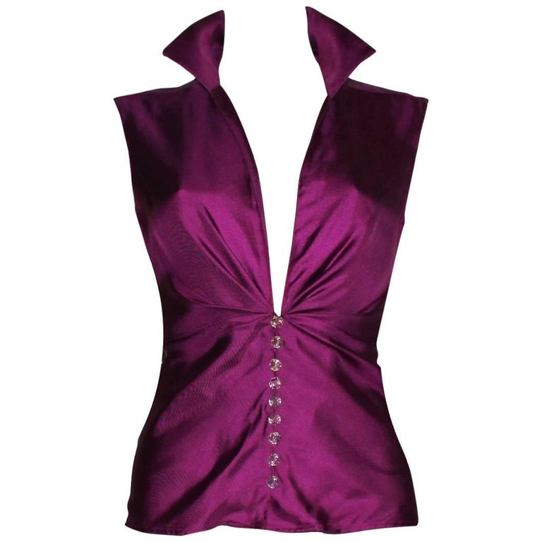 Gianni Versace Couture SS 2000 Purple Hot Silk Blouse Top with Swarovski Buttons